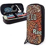 Reed - Estuche de lápices de cuero de gran capacidad de apellido americano, bolígrafo, papelería, organizador de caja, organizador de oficina, bolsa de cosméticos, bolsa de cosméticos portátil