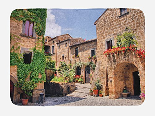 Lunarable Tuscany Bath Mat, Italian Streets in Countryside with Traditional Brick Houses Old Tuscan Prints, Plush Bathroom Decor Mat with Non Slip Backing, 29.5 W X 17.5 W Inches, Multicolor