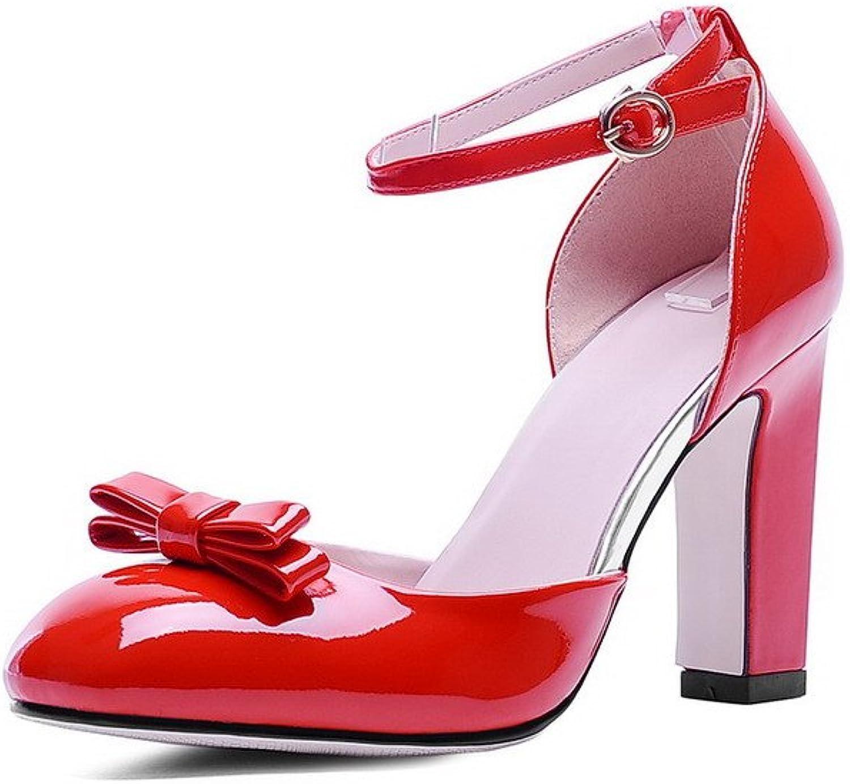 AmoonyFashion Women's Closed-Toe Pu High-Heels Buckle Solid Sandals