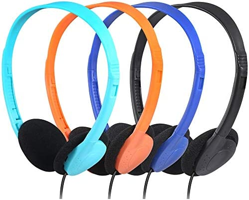 Bulk Headphones for Classroom Kids Multi Colored 50 Pack, CN-Outlet Wholesale Over Ear Student Head Phones Perfect for Schools, Libraries, ComputerLab, Testing Centers, Museums, Hotels