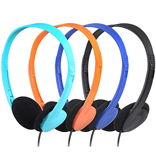 CN-Outlet Kids Headphones for Classroom in Bulk Multi Colored 5 Pack, Wholesale Children On-Ear Headset Perfect for Schools, Student, Libraries, ComputerLab, Testing Centers (5Pack)