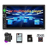Double Din Car Stereo Receiver 7'' High Detachable Screen for Car with Bluetooth FM Car Player Support Steering Wheel Control Mirror Link+32G Memory Card & Backup Camera