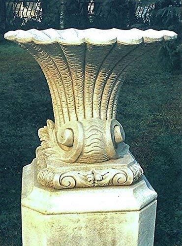 pompidu-living Muschel-Vase, Amphore Blumentopf Pflanzkübel Topf Stein H 70 Farbe Terracotta