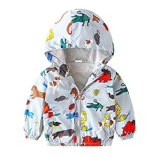Toddler Baby Boys Cute Dinosaur Print Loose Hood Windproof Jacket Zipper Closure for 1-5 Years