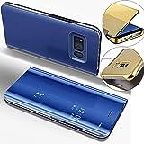 EMAXELERS Galaxy S6 Edge Funda, Funda Samsung Galaxy S6 Edge Espejo Caja de Maquillaje con Marco de Cuero de la PU Flip Protectora de Cuerpo Completo para Samsung Galaxy S6 Edge Mirror PU : Blue