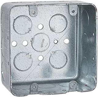 Hubbell-Raco 680 2-Device, 2-1/8-Inch Deep, 1/2-Inch Side Knockouts 4-Inch Square Switch Box, Drawn