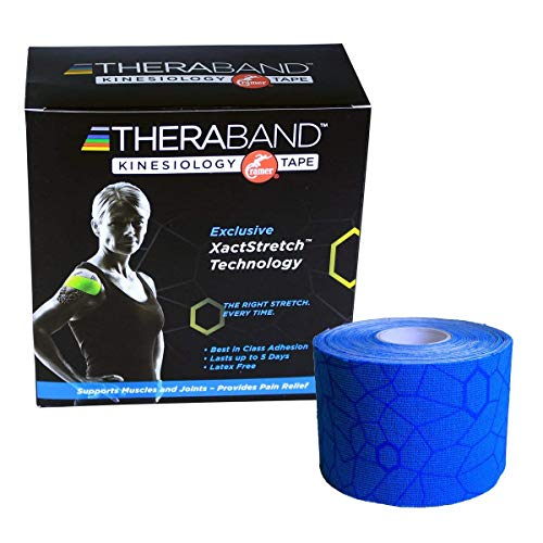 """TheraBand Kinesiology Tape, Waterproof Physio Tape for Pain Relief, Muscle & Joint Support, Standard Roll with XactStretch Application Indicators, 2"""" X 16.4"""" Roll, 6 Pack, Blue/Blue"""