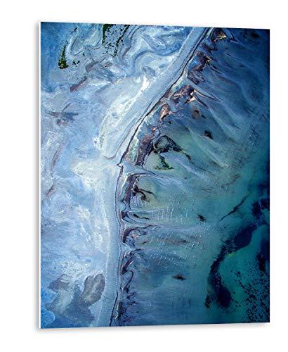 Cuadro Abstracto en Tonos Azul Jade | Tamaño: 120x80 cm | Cuadros Grandes para decoración de salón | Instalación sin Tener Que Hacer Agujeros