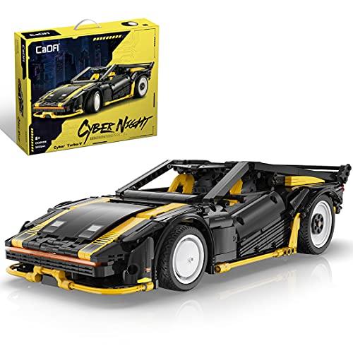 Fancy Brick CADA Technik C63001 - Coche para Cyber Punk 2077 Turbo-R, coche de carreras con motor V8, compatible con Lego Technic, 1672 piezas, versión estática