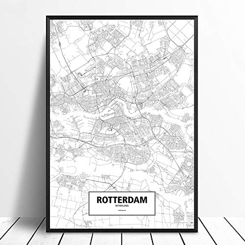 SERTHNY afdrukken schilderijen, Rotterdam Nederland Zwart Wit Gebruikergedefinieerde wereld Stadsplan Posters Canvas in Scandinavische stijl Wall Art Home Decor 50×70cm (19.68×27.55inch) no frame