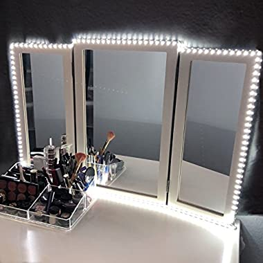 LED Vanity Mirror Lights Kit for Makeup Dressing Table Vanity Set 13ft Flexible LED Light Strip 6000K Daylight White with Dimmer and Power Supply, DIY Mirror, Mirror not Included