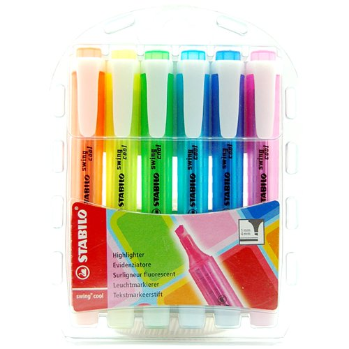 Stabilo Swing Cool Highlighter - Assorted Colour (Pack of 6)