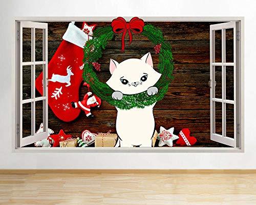Arte de la Etiqueta de La Pared 3D Guirnalda de gatito navideño Pegatinas de pared lindas Dormitorio Niñas Niños Sala de estar Poster Decoración Hogareña 50x70cm