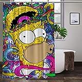 Cute Doormat Simpson - Juego de cortinas de ducha con ganchos, cortinas de ducha impermeables de poliéster para decoración de baño de 166 x 182 cm