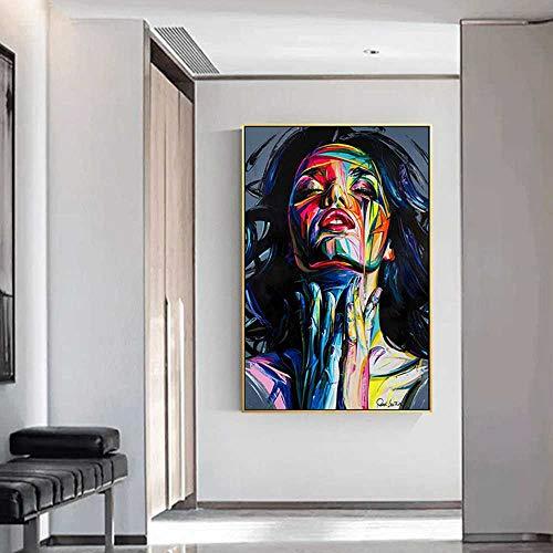 Pintura al óleo de la cara Paleta pintada estilo Francoise Nielly retrato lienzo pintura cuadros de arte para sala de estar hogar 60x90cm, sin marco