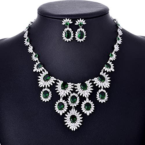 yuge Conjunto de joyas de banquete de boda, joyería de plata esterlina 925, collar de flores, pendientes de gota, regalos verde