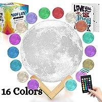 Moonランプ夜ライト3dプリント- 3カラーwithリモートAthena Futures–with Moon小冊子、タッチスイッチ、5.9in、USB充電、木製スタンド、ボックス、保育園ライト、ロマンチックライト。 5.9 inch ホワイト
