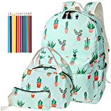 School Bags Backpack Set Teen Girls Bookbag with Lunch Box Bag/Pencil Case/12Pcs Colored