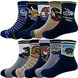 Kids Boys Cartoon Dinosaurs Pattern Sport Socks 10 Pairs (4-7X, Dinosaurs 2)