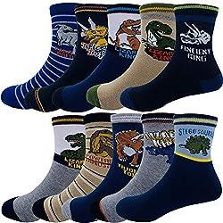 1. Cczmfeas Store Kids Cartoon Dinosaurs Pattern Sport Socks (10 Pairs)
