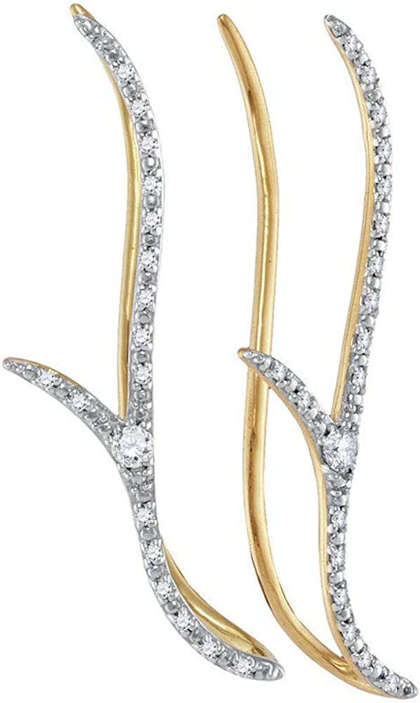 Jewels Regular store By Lux 10K Yellow Gold Round Climb Womens Diamond Large discharge sale Slender