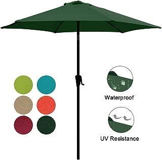 COBANA 7.5ft Patio Umbrella Outdoor Table Market Umbrella with Push Button Tilt/Crank, 6 Ribs, Dark Green
