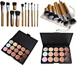 15 Colors Cosmetics Cream Contour Foundation Concealer Palette Kit with 11pcs Bamboo Brush