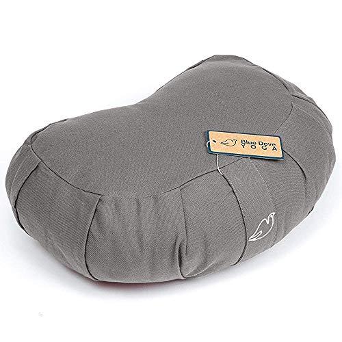 Blue Dove Yoga Mezzaluna Zafu con fodera lavabile in cotone organico cuscino da meditazione imbottito con kapok 40 cm x 25 cm x 14 cm (grigio)