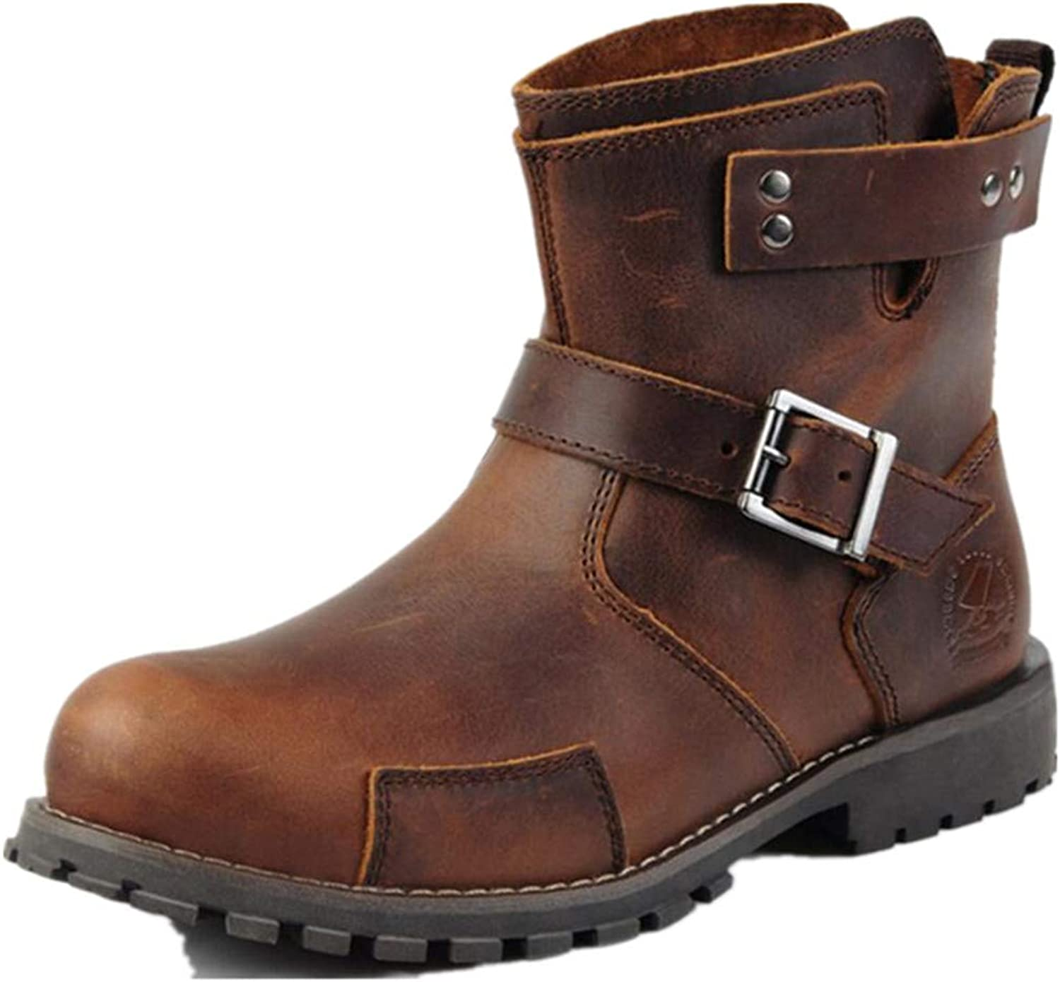 Jackdaine Men's Winter Martin Boots Casual Crazy Horse Leather Boots Trend Buckle Booties
