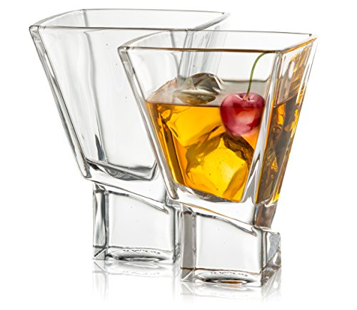 JoyJolt Carre 2-Piece Cocktail Glasses Set, 8 Ounce Martini Glasses
