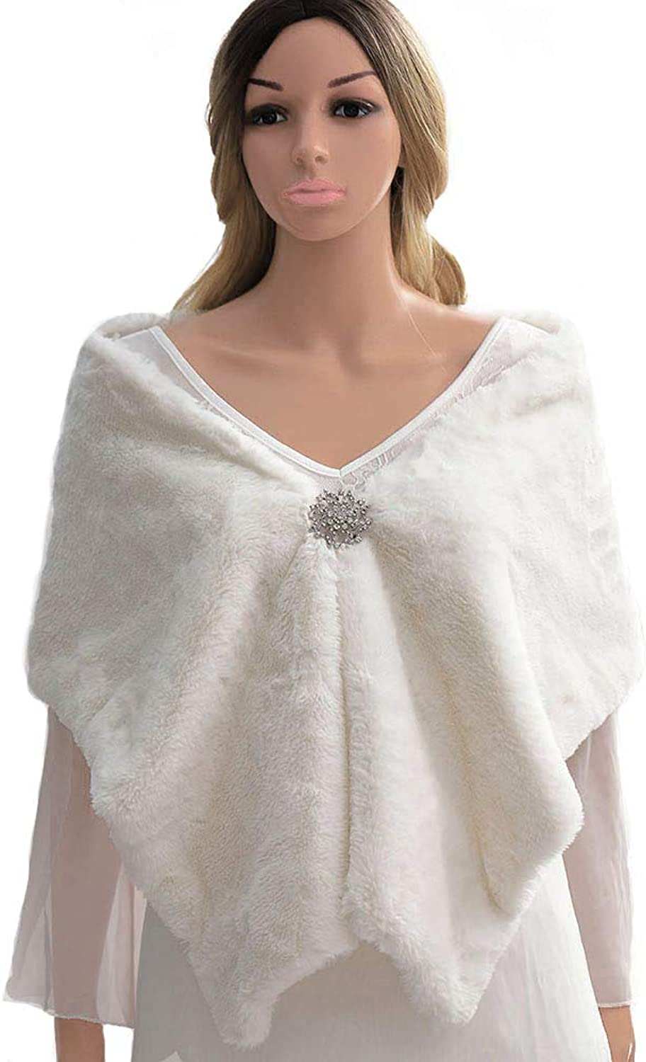 Campsis Women's Bride Faux Fur Shawls and Wraps Bridal Fur Stoles Winter Fur Scarf for Women and Girls
