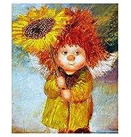 DMFNGJSD 数字油絵 フレーム付き 、数字キット塗り絵 手塗り DIY絵-花を持っている少年-デジタル油絵 40x50 cm