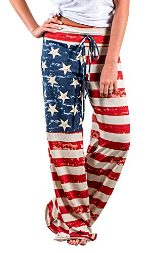 AMiERY 4th of July American USA Flag Women's Patriotic Pants Ladies Drawstring Trousers Pajama Pants Lounge Pants L