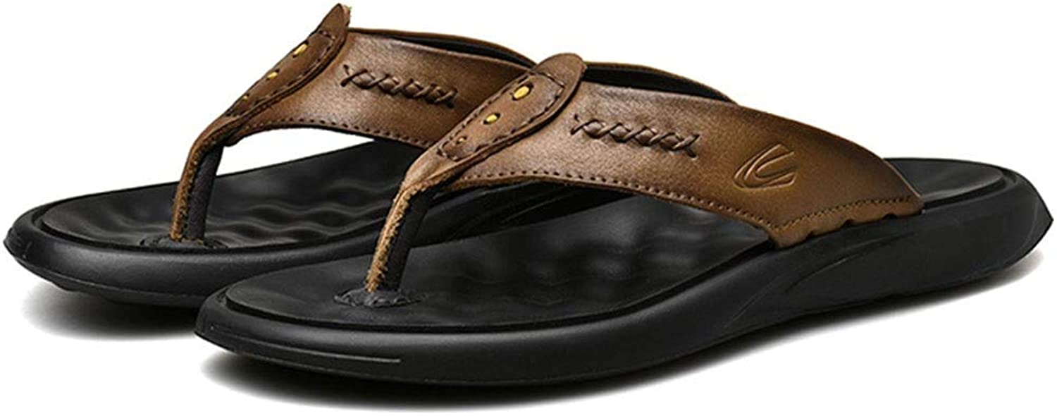 Flip flops leather sandals and slippers beach shoes non-slip waterproof men (color   A, Size   41)