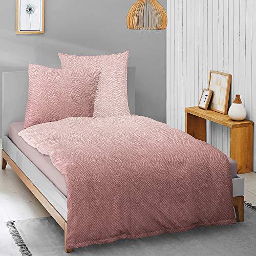Irisette Edel-Feinbiber Bettwäsche Feel Faded rot 1 Bettbezug 135 x 200 cm + 1 Kissenbezug 80 x 80 cm