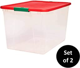 Homz Holiday Plastic Storage Container, 64 Quart (2 Pack), Red and Green, 2 Sets
