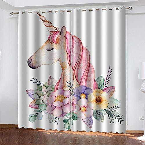 ZFSZSD Cortinas Dormitorio Moderno Color y Unicornio Blackout Curtain Cortina Opaca Suave para Ventanas de Habitación Juvenil con Ojales Sala de Estar Niño Dormitorio Tamaño:2x75x166cm(An x Al)