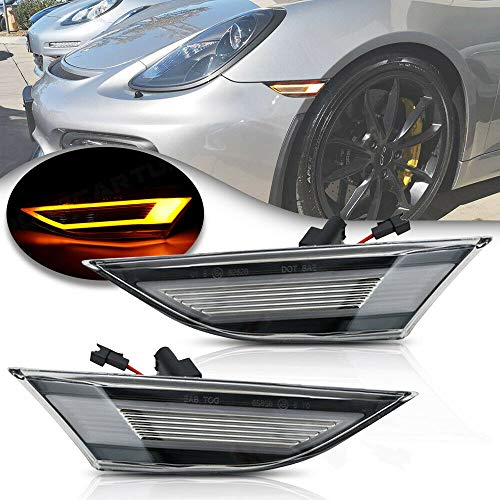 NSLUMO Led Side Marker Lights for Porsche 991 Carrera 981 982 Boxster 718 Cayman Clear Lens Amber LED Side Marker Assembly