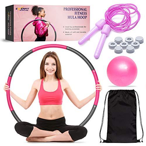 EVERFIT Hula Hoop Reifen Fitness für Erwachsene zur Gewichtsabnahme (auch für Anfänger) - Set Inkl. Pilates Ball + Springseil + Rucksack – Befüllbar – Anpassbare Größe (80 -90cm) - ca. 1kg