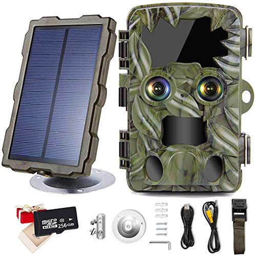 Braveking1 Cámara Caza de Doble Lente con Starlight Night Vision 4K 20MP Trail Game Camera 0.2s Velocidad Disparo IP66 Impermeable Cámara de Animal Invisible con Panel Solar y Tarjeta Micro SD,256g