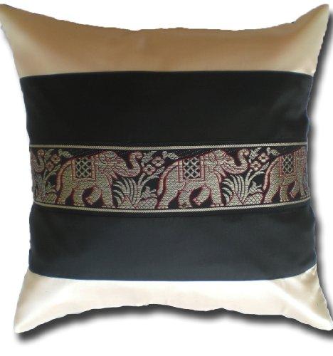 Elefanten Elefant cremeweiss - schwarz Kissenbezug Kissenhülle Kissen 41,5 cm x 41,5 cm Thai Silk Sofa Couch