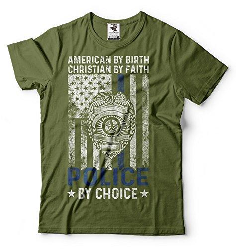 Silk Road Tees Officier de Police des Hommes T-Shirt Policeman T-Shirt Chemise de la Police américaine Large Military Green