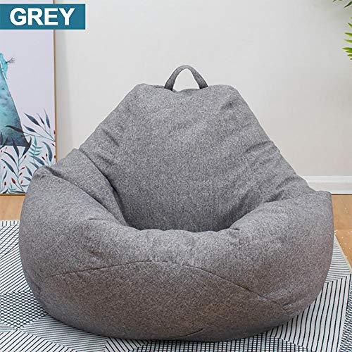 Sitzsack Outdoor Sofas Decken Stühle Ohne Füllstoff Leinen Stoff Liege Sitz Sitzsack Hocker Puff Couch Tatami Wohnzimmer-Dunkelgrau M.