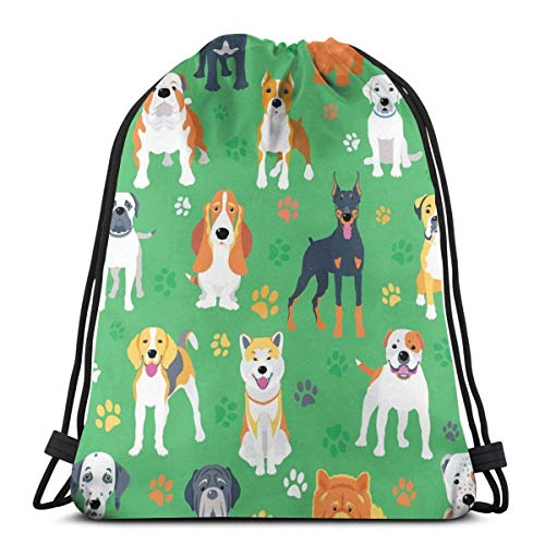 AZSTEEL Vector fondo sin costuras con perros diseño plano con cordón bolsa mochila Gymbag mochila para senderismo playa viajes