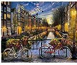 genrics Pinturas para Lienzo Pinturas con Numeros para Adultos - Kits Manualidades Pinturas Oleo DIY Regalos - Amor En El Paisaje De Amsterdam