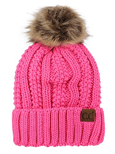 C.C Thick Cable Knit Faux Fuzzy Fur Pom Fleece Lined Skull Cap Cuff Beanie, Candy Pink