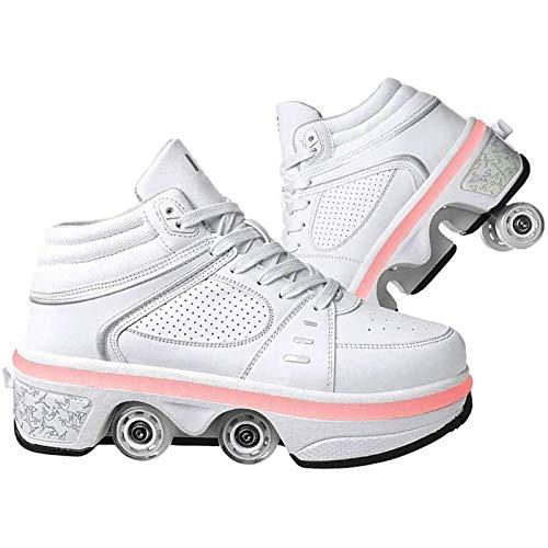 Kick Roller Shoes Skate, Walk Deformation Shoes, LED Ajustable Quad Roller Skates Boots Double-Row Deformation Shoes, EUR35