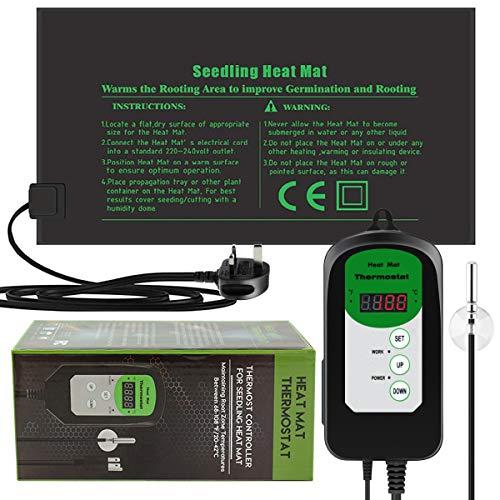 RIOGOO Tapis chauffant pour semis 24 x 52 cm et contrôleur de thermostat numérique 20-42 °C IP68 étanche (tapis chauffé + contrôleur thermostat)