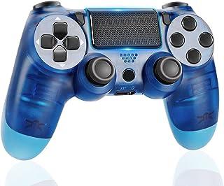 Manette PS4 Manette de Jeu Bluetooth sans Fil pour Playstation 4 avec câble USB Compatible avec Windows PC-Bleu transparent