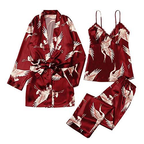 Shorty Damen Schlafanzug Nachtwäsche Damen Nachthemd Stillen Damen Nachthemd Nachthemd Transparent Baumwoll Nachthemden Damen Frauen Nachthemd Sexy(Wein,XL)